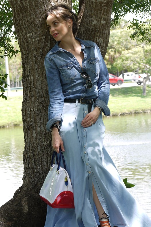 long denim skirt + denim shirt+gladiator sandals by Mylovelypeople