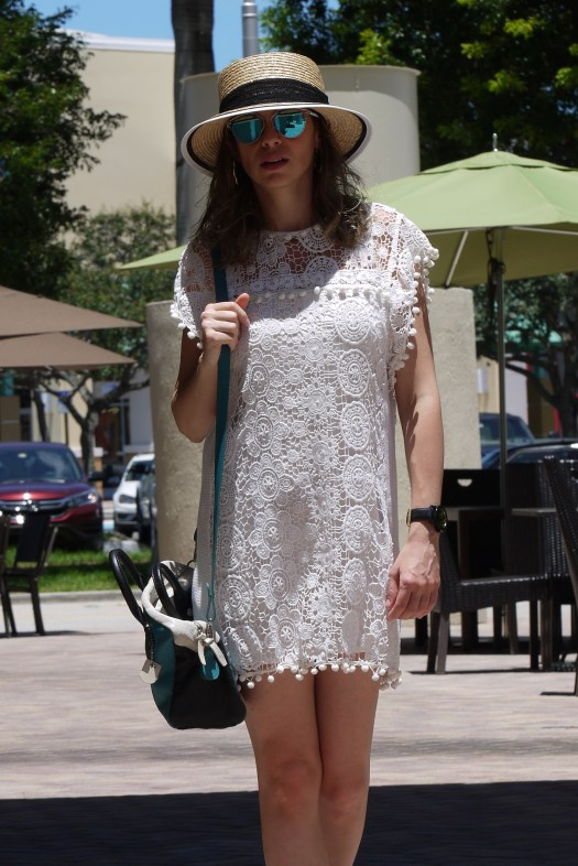 lace white dress + jewels flat sandals by mylovelypeople