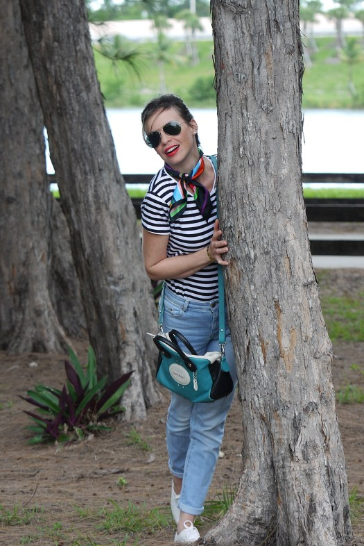 high waist jeans + stripes tee+ scarf and sneakers by Mylovelypeople
