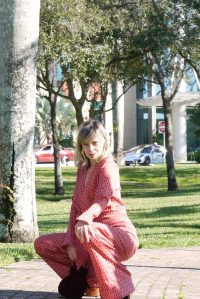 Alba Marina Otero fashion blogger from Mylovelypeople blog shares with you how to style a red jumpsuits for a baby shower
