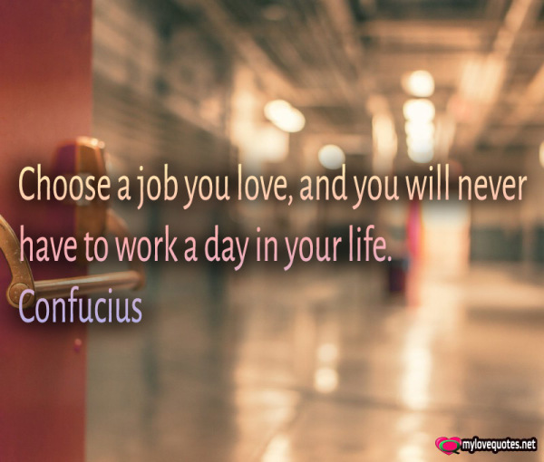 choose a job you love and you will never