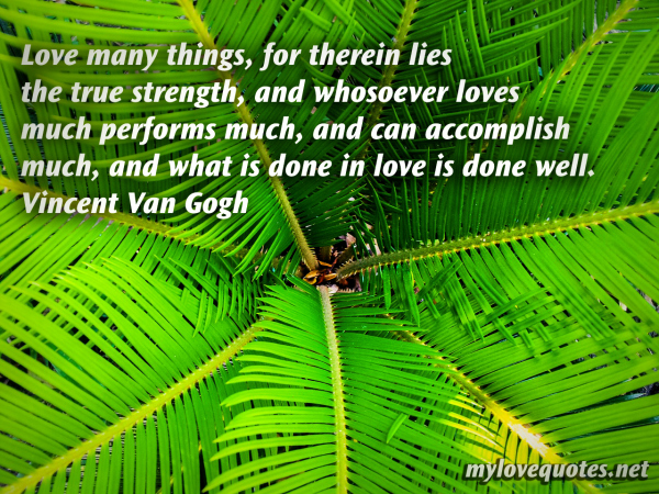 love many things for therein lies the true strength