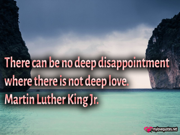 there can be no deep disappointment where is not deep love