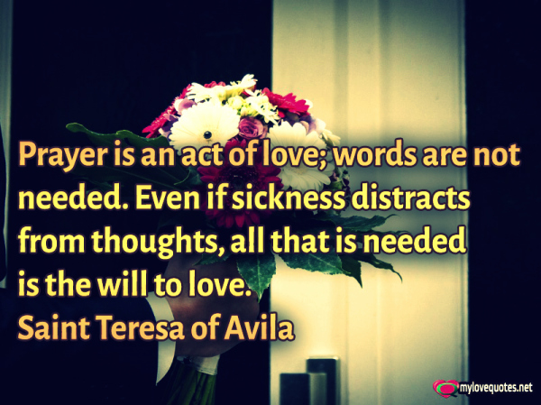 prayer is an act of love words are not needed