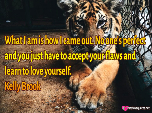 What I am is how I came out. No one's perfect and you just have to accept your flaws and learn to love yourself. Kelly Brook
