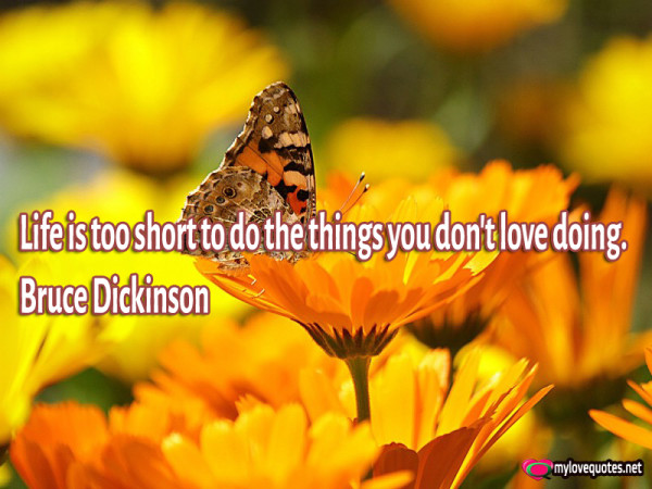 life is too short to do the things you don't love doing