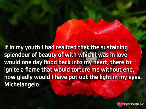 if in my youth i had realized that the sustaining splendour of beauty of with which i was in love