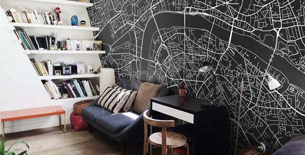 papiers peints noir et blanc mur aux dimensions myloview fr