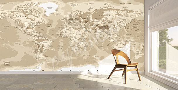 Papiers peints Carte du monde mur aux dimensions  myloviewfr