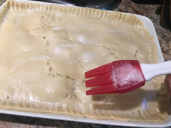 Egg white over crust