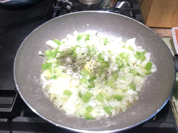 Melt butter sauté onion and celery