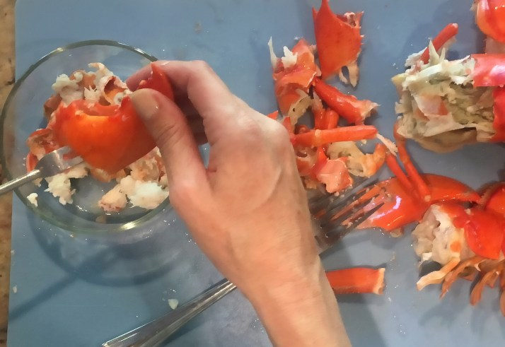 Preheat oven to Bake 375 degrees Fahrenheit. Remove lobster meat from shell and set aside