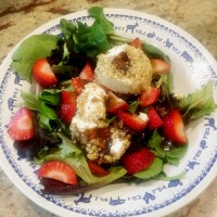 Walnut-Crusted Goat Cheese Salad with Strawberries and Balsamic Vinaigrette