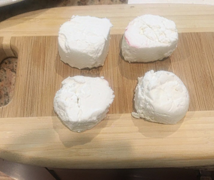 "Slice goat cheese into 4, 1/2"" slices"