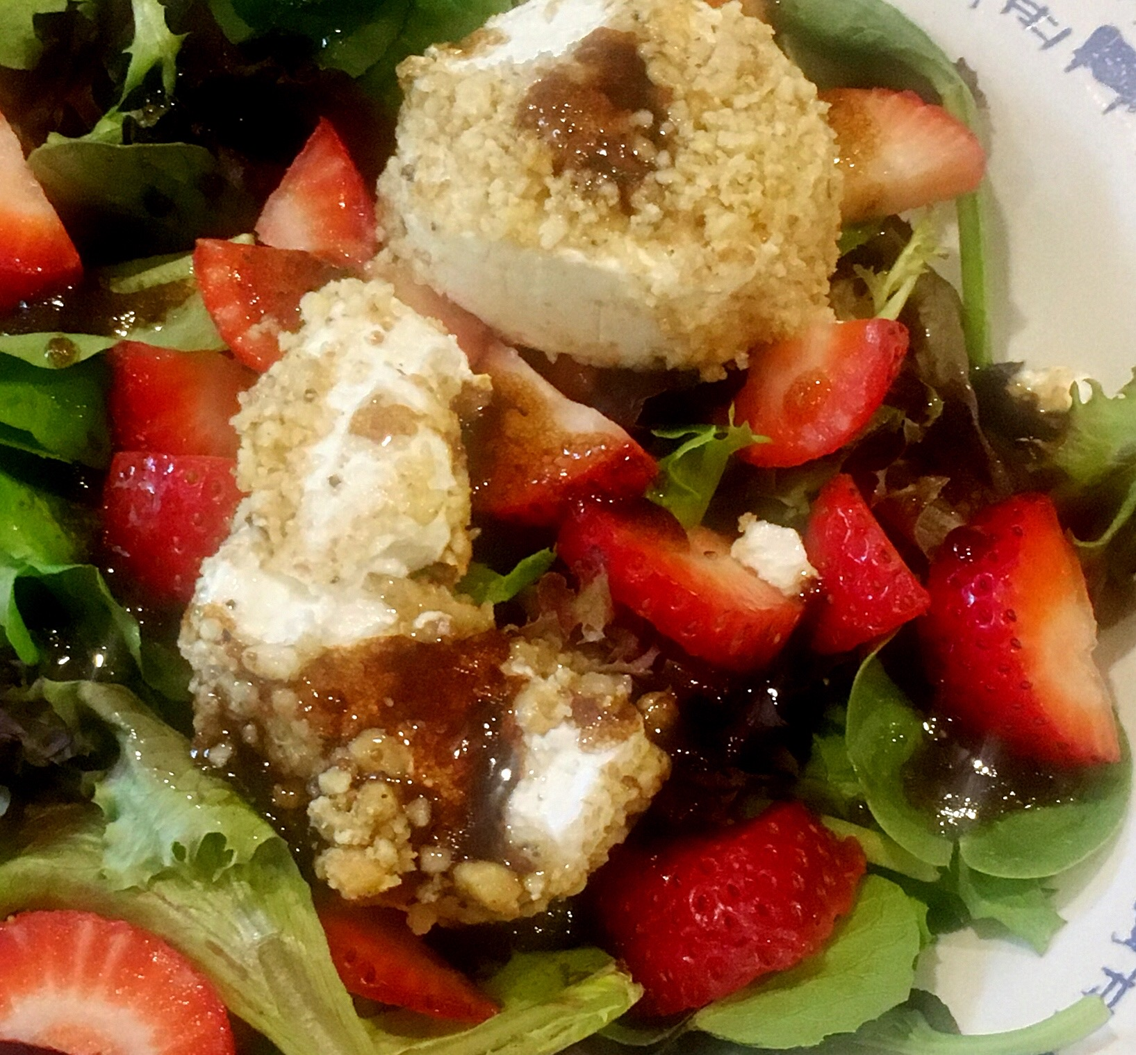 Goat Cheese salad with berries and balsamic vinegar