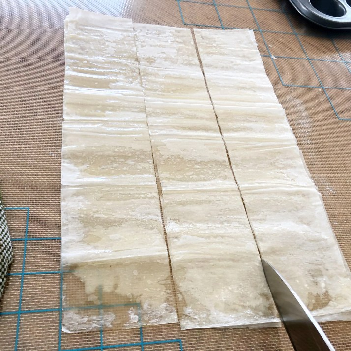 Cut dough into squares with a sharp knife( 15 squares)