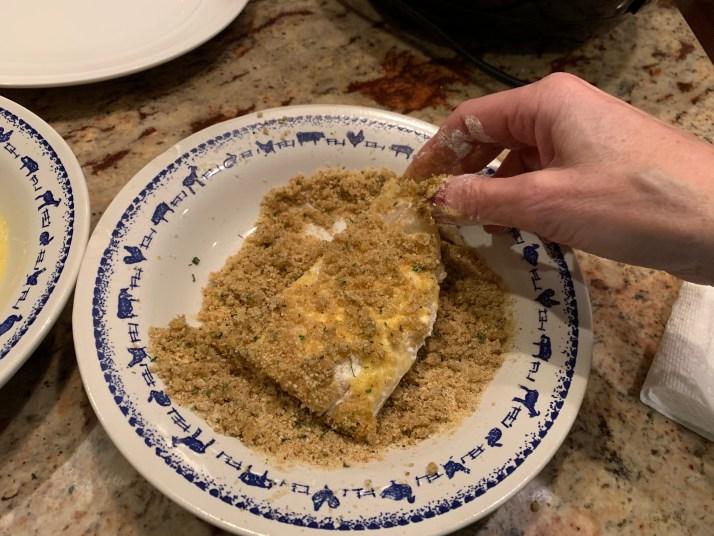 now dip fish in breadcrumbs