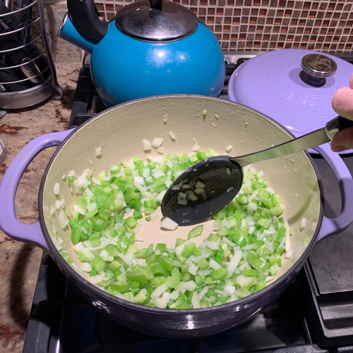 saute´onion, garlic and celery