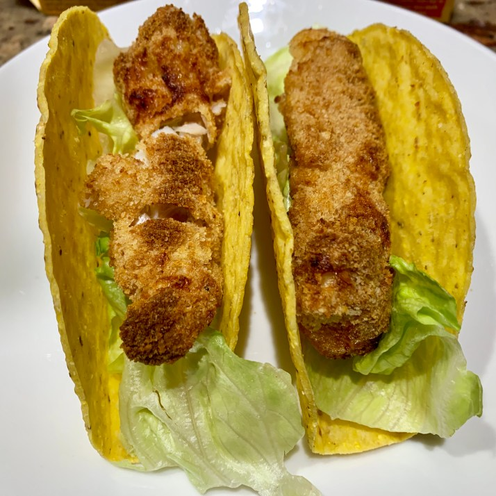place a large lettuce leaf in the bottom of the taco shell.                                     * this is especially useful when using crunchy tacos, the lettuce holds in the the fish and toppings in case the shell cracks.