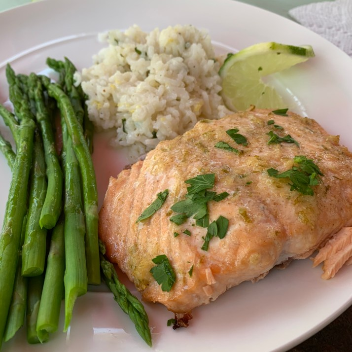 Grilled Salmon sided with basmati rice and asparagus
