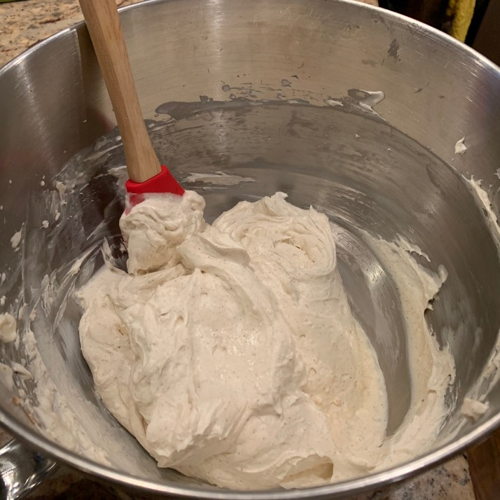 add whipping cream and blend on medium high until light and fluffy