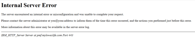 myloweslife internal server error