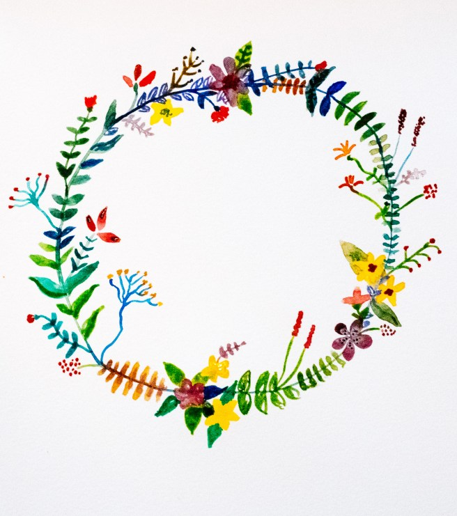 Illustratie bloemenkrans