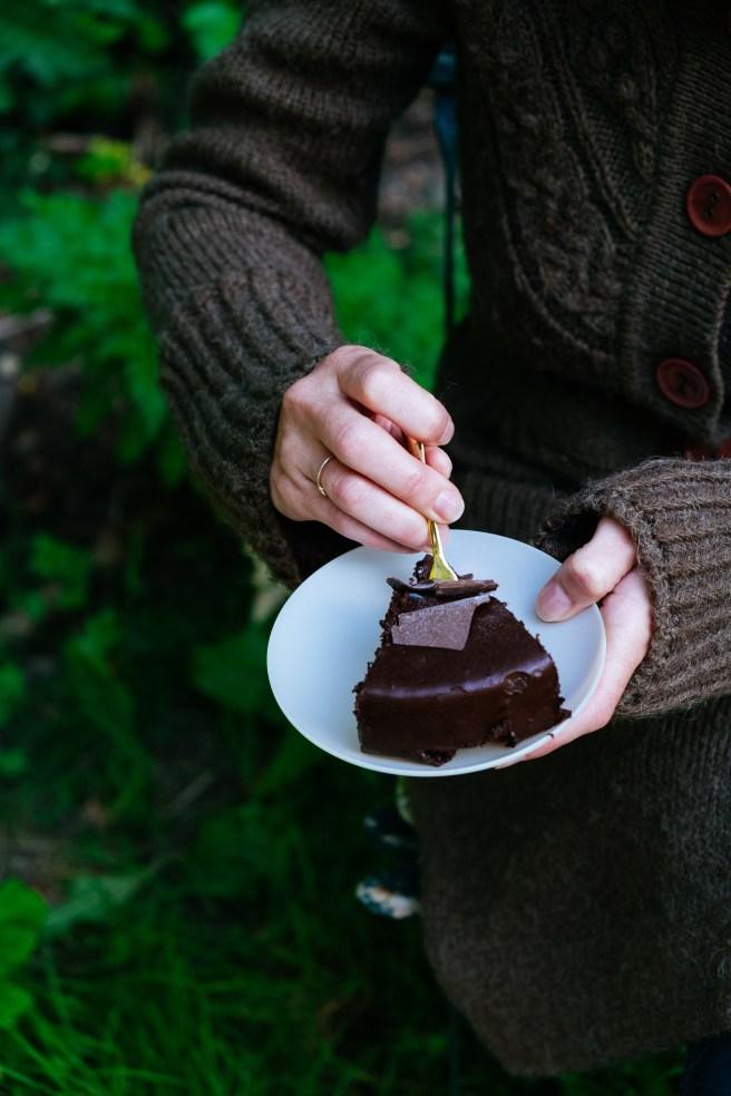 puntje van chocoladetaart