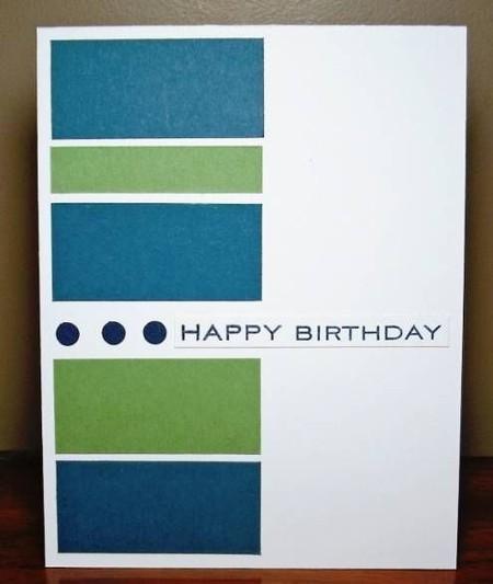 Farbige Rechtecke auf einer Postkarte