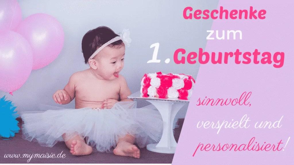 45 Geschenke zum 1. Geburtstag - Baby und pinke Torte mit Ballons