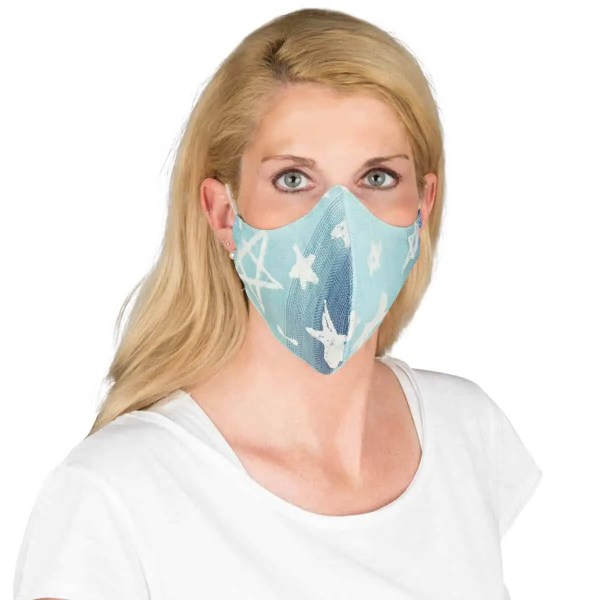 Gesichtsmaske Jacquard Singapur blue