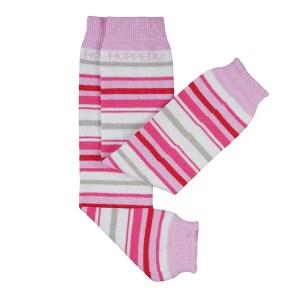 Bio-Babystulpen weiss/rosa gestreift