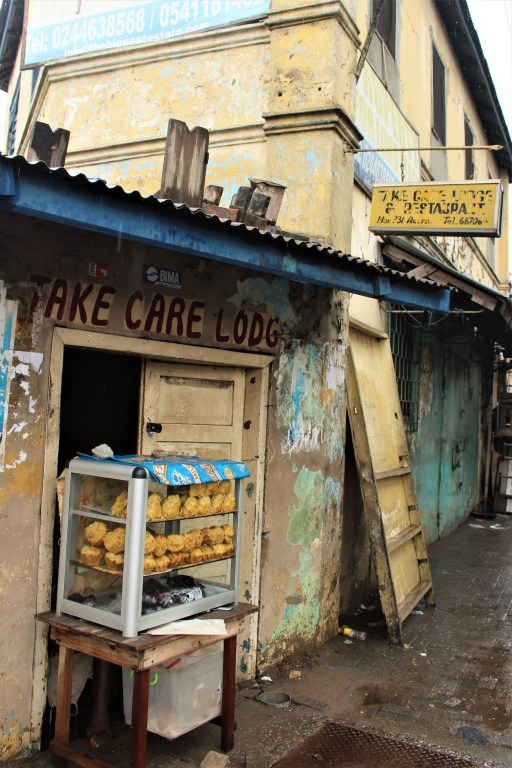 The Take Care Lodge in old Accra on the outskirts of Makola Market.