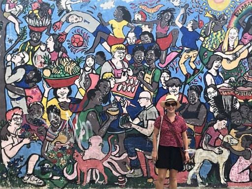 Bright mural in Jamestown from Chale Wote festival
