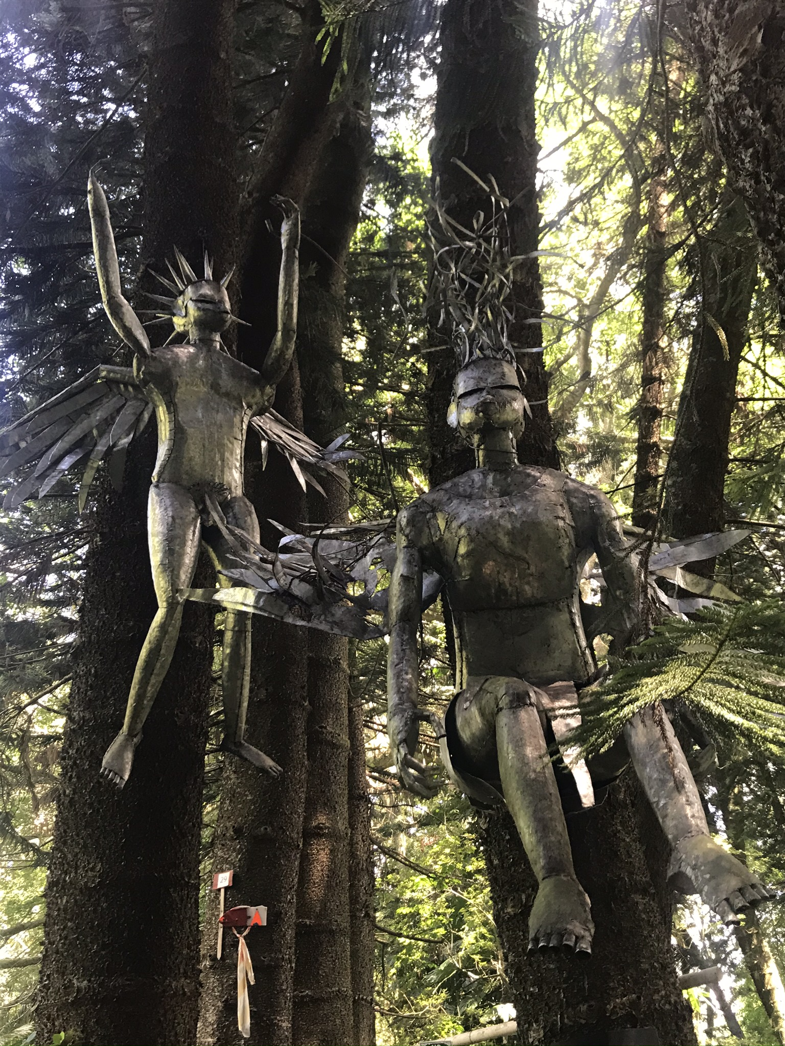 Metal angels fly in the trees at the Ammazulu Gardens and Sculpture Precinct