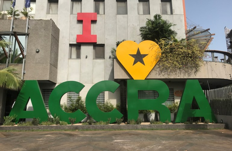 The I love Accra sign on Accra's bustling Oxford Street