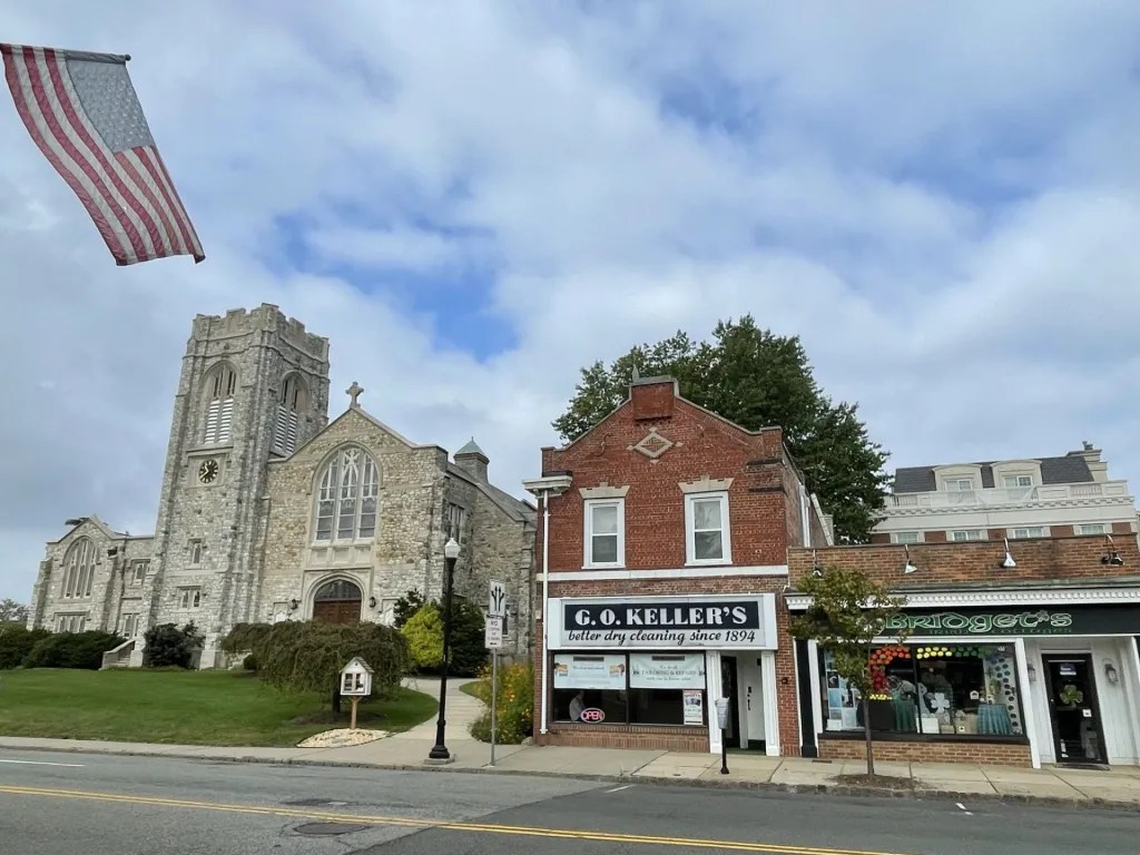 The Presbyterian church and some of the shops in Westfield New Jersey