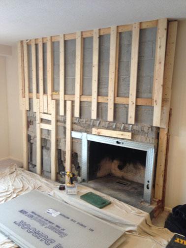 TV mount and Stone Fireplace Surround  Ottawa Case Study Ottawas MyMason rebuilds the wall