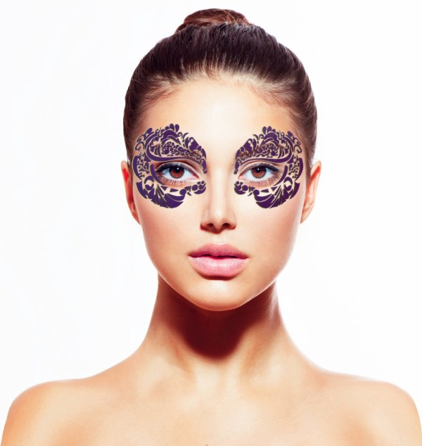 Fancy purple with black shadow masquerade masks