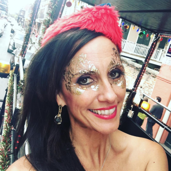 gold foil masquerade mask at running with the santas in new orleans