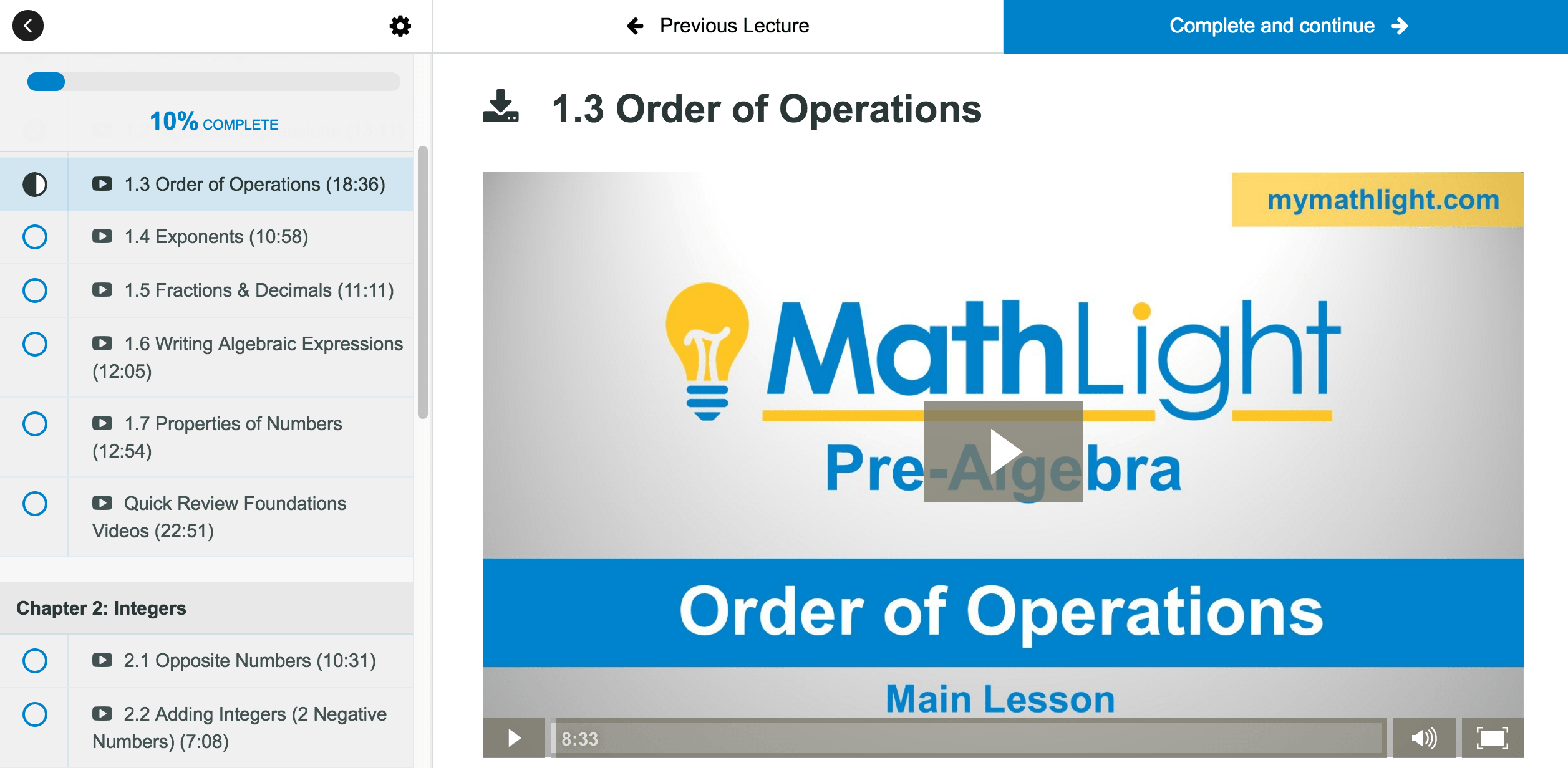 mathlight pre algebra videos