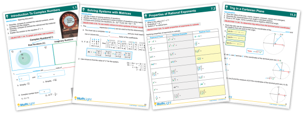 Example notes pages for Algebra 2 Curriculum from MathLight