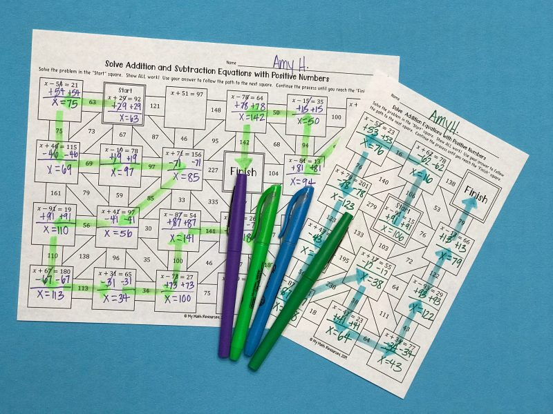 "Do you need to practice solving addition and subtraction equations with positive numbers? Are your students sick of boring worksheets? Try this fun & engaging puzzle! Just print this off and give yourself an easy day - your class will be engaged & entertained while practicing math! How does it work? Solve the first problem in the ""Start"" square Use the correct answer to follow the right path Continue the process until you reach the ""Finish"" square"