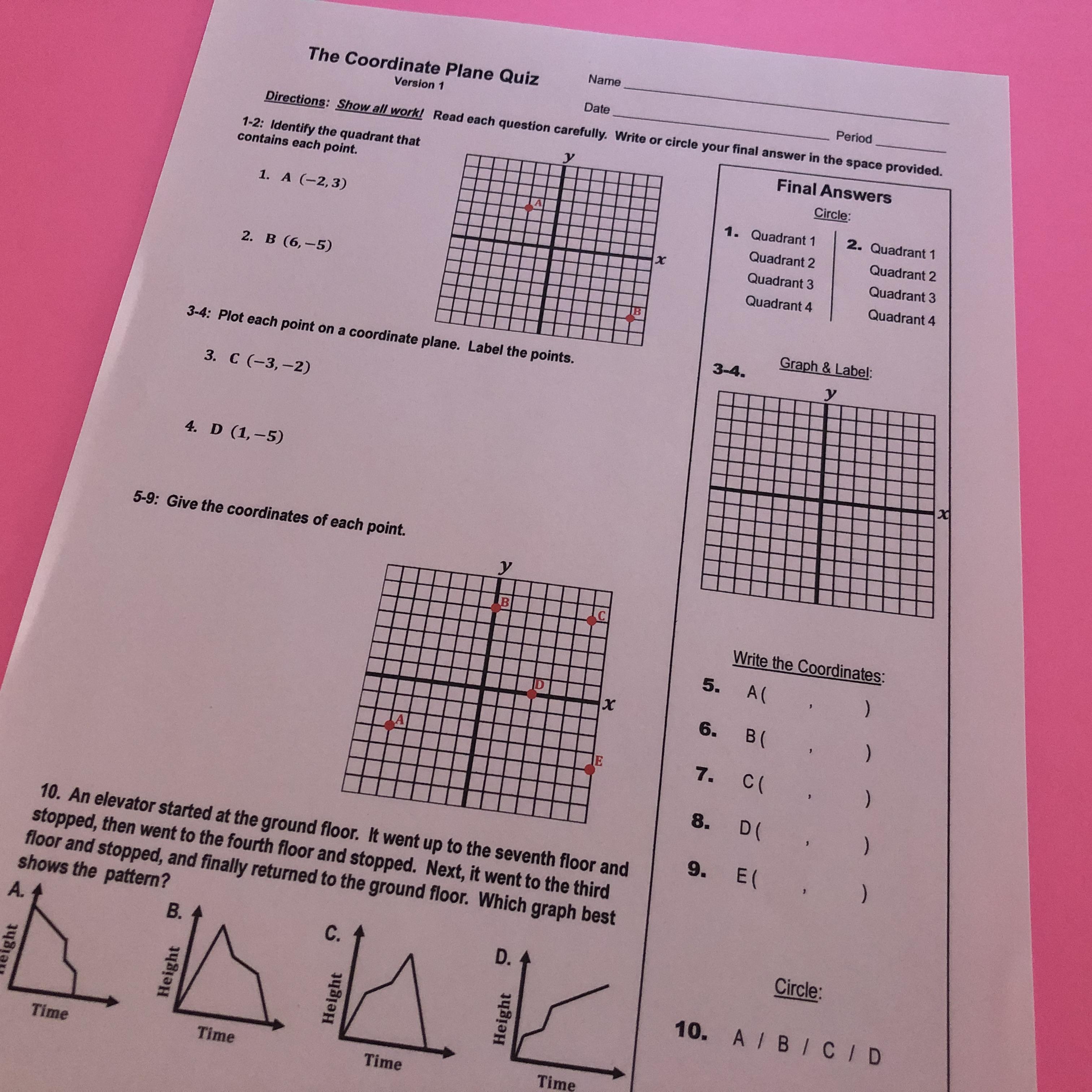 medium resolution of My Math Resources - Coordinate Plane Quiz