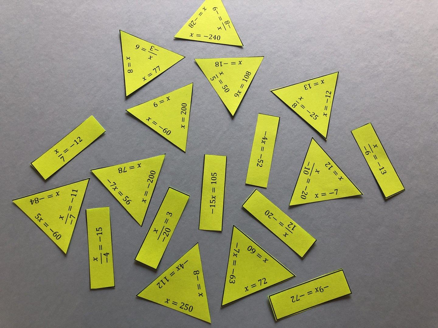 This engaging puzzle is a unique way to review one-step multiplication and division equations with integers. Puzzles force our students to think, whether they want to or not! To solve the puzzle, students will add or subtract integers to isolate the variable. The solutions will be integers; both positive and negative numbers. There is one question like this: -3-x=21 , where the students will have to deal with that negative one x. The rest of the equations are typical addition and subtraction equations. This puzzle is the PERFECT size for an interactive math notebook (even when you are using a composition notebook). Try using this puzzle in a math station when you are doing rotations - cut out the pieces ahead of time and laminate them to save time.