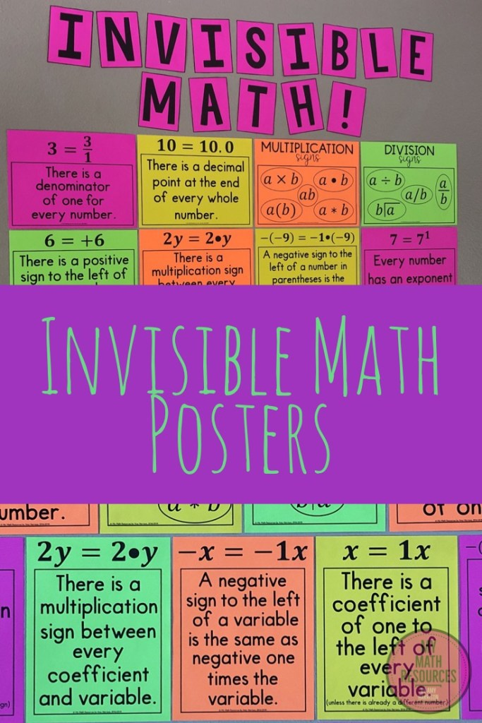Invisible Math Posters by My Math Resources are MUST HAVE posters for any 6th, 7th, 8th., or 9th grade Math Classroom!  These are the ORIGINAL Invisible Math Posters - don't be fooled by low-quality knock-offs!  These are the posters you saw on Instagram!  Middle school Math students LOVE Invisible Math posters.  Great decor for any Math Class.  #math #teacher #mathteacher #algebra #geometry #percent #decimal #fractions #middleschool #jrhigh #conversions #review #test #quiz #6th #7th #8th #grade #activity #tpt #teacherspayteachers  #teacherlife #student #invisiblemath