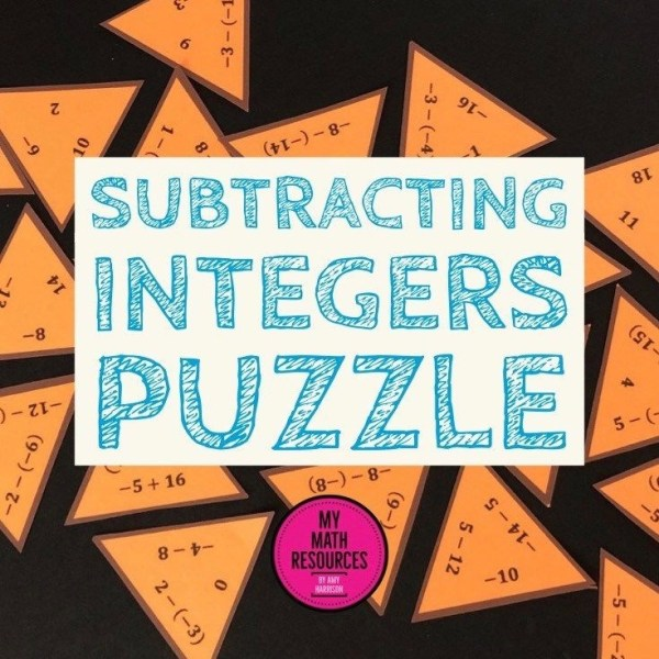 Subtracting Integers Triangle Puzzle