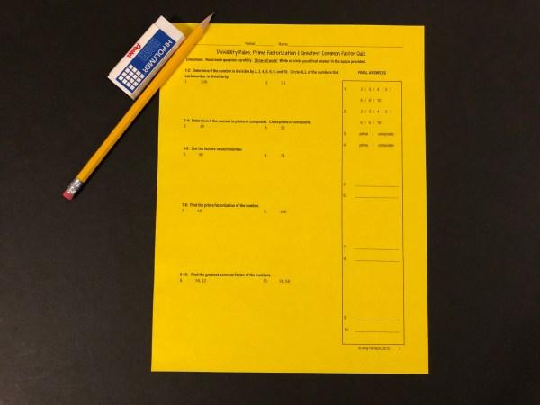 Quiz Divisibility Rules Primes and Composites Prime Factorization and GCF