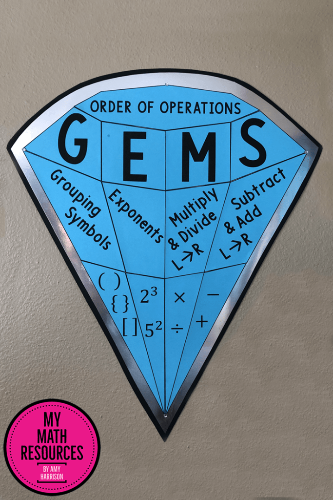 This GEMS Order of Operations poster is a must-have for any 5th, 6th, 7th., or 8th grade math classroom!  This eye-catching poster POPS off the wall, your middle school and jr. high students will benefit all year long and you can use it in your classroom for years to come!