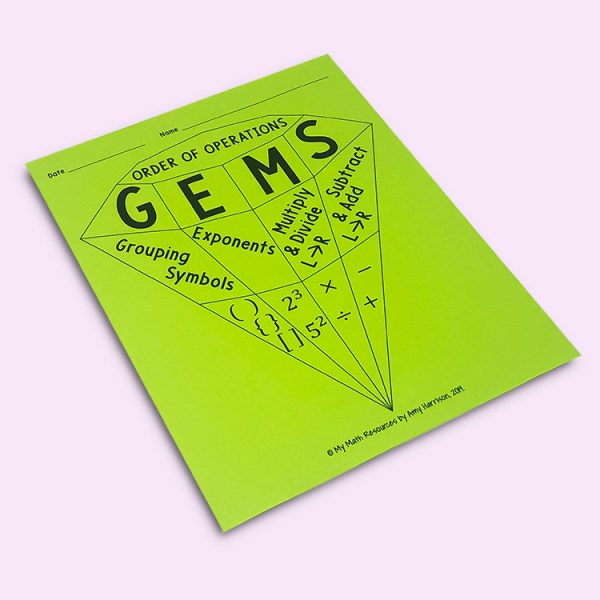 GEMS Order of Operations Poster Handout
